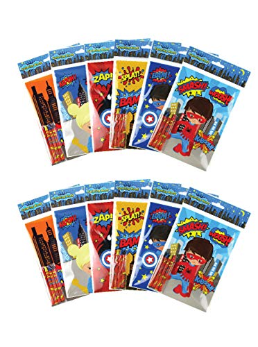 Superhero Coloring Books with Crayons Party Favors, Set of 12