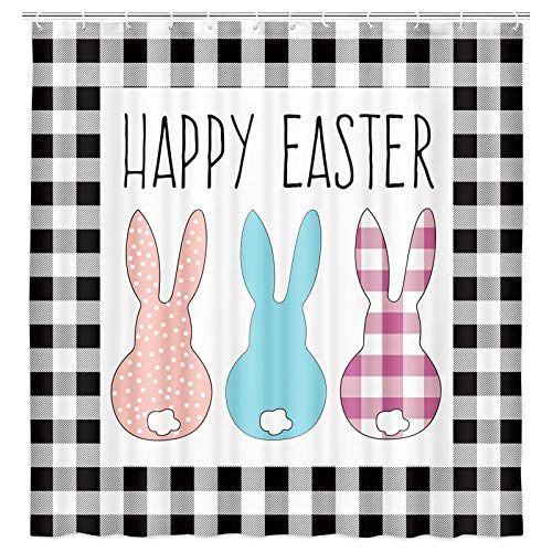 Happy Easter Shower Curtain, Funny Rabbit Rustic Black White Buffalo Check Plaid Decor Farmhouse Bathroom Fabric Shower Curtains Set with Hooks, 69X70 Inches