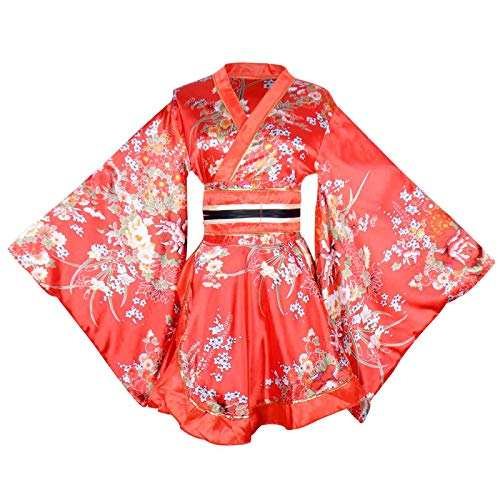 Sexy Short Kimono Costume Adult Women's Japanese Geisha Yukata Prints Gown Blossom Fancy Dress with OBI Belt (Red)