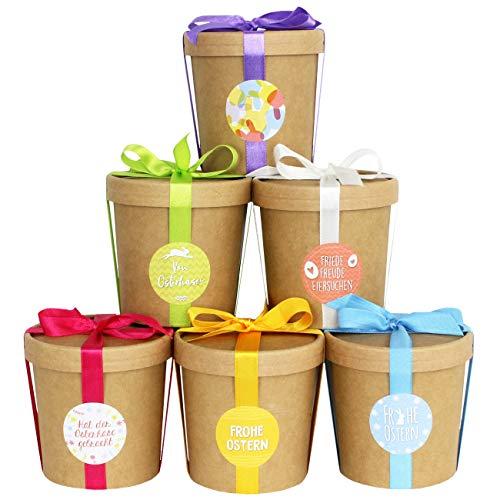 6 cestini decorativi di Pasqua per il riempimento - Mug con e senza copertura - completo - Decor di Pasqua 2020 con adesivi - Cesti di Pasqua come Box