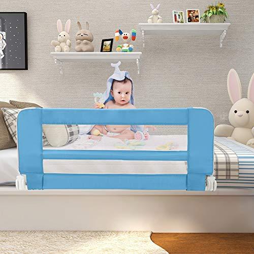 Leogreen - Barandilla de Seguridad para Cama de Bebés y Niños Pequeños, Barrera de Cama Plegable, 1,02 Metro(s), Azul, Material: Tela de nylon