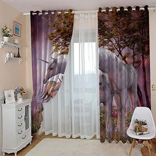 ZFSZSD Vorhang Blickdicht Ösenschal Lila & Einhorn Thermo Gardinen Blickdicht Vorhänge für Kinderzimmer/Schlafzimmer Gardine Größe:2 x B117 x H138cm