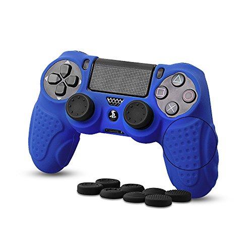 CHIN FAI für PS4 Controller Schutz-Hülle,Silikon Anti-Rutsch 8 Daumen Griffe Skin Grip Schutzhülle für Sony PS4 / Slim/Pro Controller(Blau)