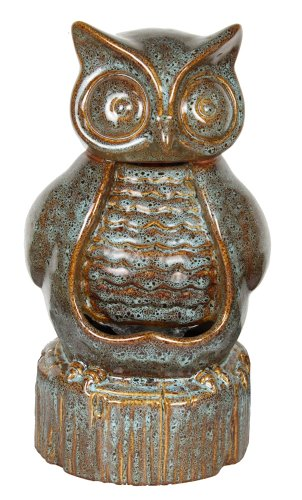 Garden Accents by Beckett Ceramic Owl Fountain