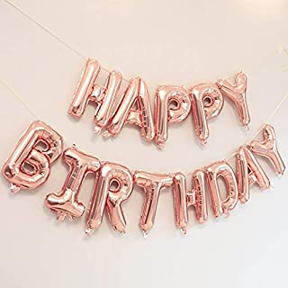 "Rozi Decoration ""Happy Birthday"" 13 Letters Set Foil Balloon (Rose Gold)"