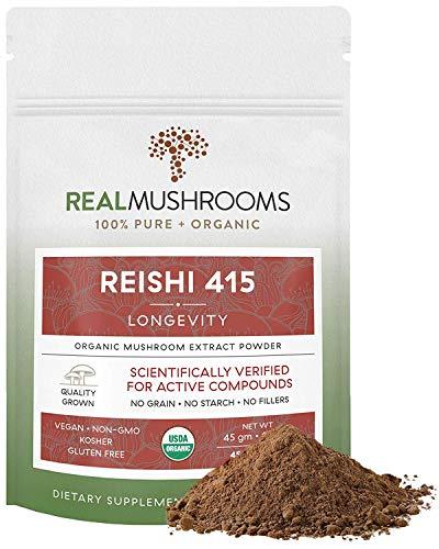Reishi Mushroom Extract Powder, Vegan & Organic Reishi Supplement for Stress, Immunity & Vitality, 45g Non-GMO Supplement for Relaxation & Better Sleep, Safe for Pets, Verified Levels of BetaGlucans