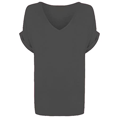 d988a577c2b WearAll Women's New Plus Size Womens Short Turn Up Sleeve Baggy Plain Top  Ladies V-