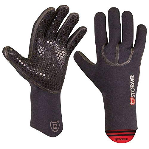 Stormr Typhoon Men and Women Durable Yet Comfortable Fishing Glove with High Stretch Premium Micro-fleece Lined 3MM Neoprene: Best Used for Ice Fishing, Winter Conditions, and Foul Weather, Black, Large