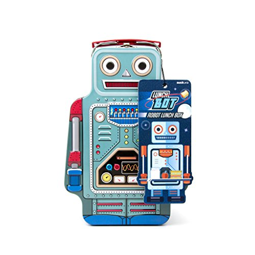 Suck UK SK LUNCHBOT1 ROBOT LUNCH BOX | TIN | TOY STORAGE | BEDROOM DECOR & ORGANIZATION |, 9.6 x 3.3 x 6.4 in, Multicolored