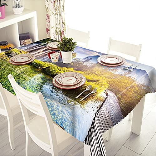 YGHBKL The beautiful view of the green sea water under the sunlight 3D tablecloth polyester rectangular tablecloth picnic fabric main decoration 90 x 90 cm
