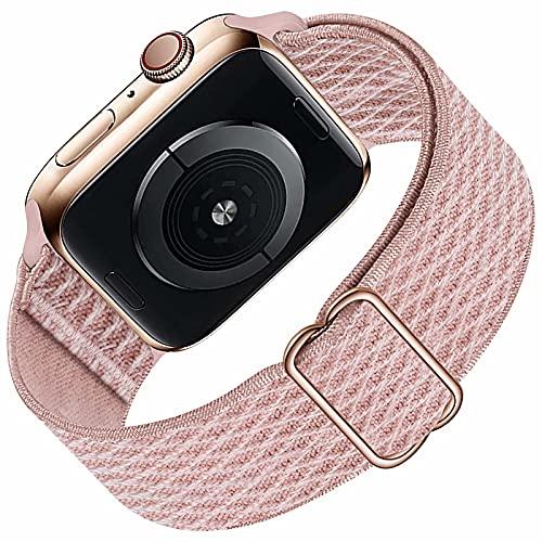 Solo Loop compatibile con cinturino Apple Watch 42mm 44mm per uomo donna, cinturino di ricambio sportivo in nylon elastico intrecciato per serie IWatch 6/5/4/3/2/1 / SE, Rose Pink 42 mm 44 mm