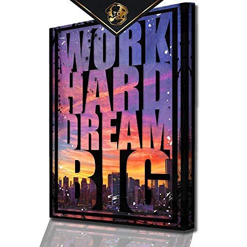 DotComCanvas® XXL Motivation-Wandbild für Erfolg | Leinwand direkt Aufhangbereit Work Hard Dream Big (80 X 60 cm)