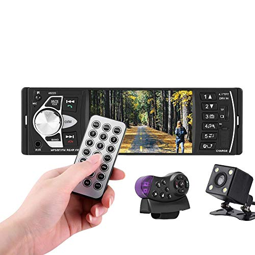 Autoradio con lettore MP5, schermo universale digitale TFT da 4,1' HD, Bluetooth, USB/TF, FM, Supporto per lettore MP5 Telecamera di retrovisione Controllo del volante(con camera)