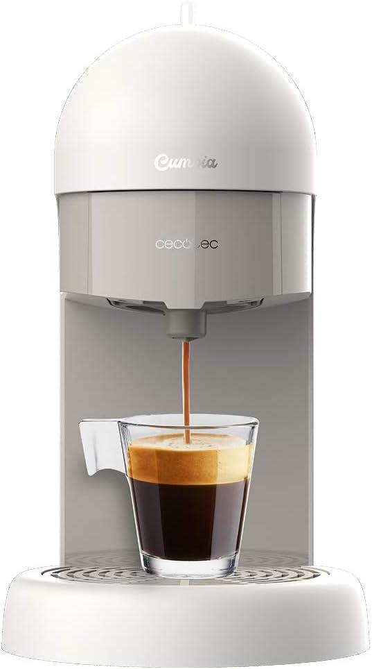 Cecotec Cafetera express Cumbia Capricciosa White. 19 Bares de presión, Apta para café molido y cápsulas monodosis ESE, Depósito agua 600 ml, Filtro apto lavavajillas