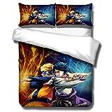 LIYIMING Parure de lit pour enfant 3 pièces en microfibre Avec housse de couette et taie d'oreiller Avec fermetures Éclair Motif 3D de l'anime Naruto, a08, 135cmx200cm