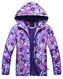 Kids Girl's Rain Jackets Fleece Lined Floral Windbreaker Outdoor Hooded Coat, Purple, US 4-5 Years (4t-5t) =Tag S
