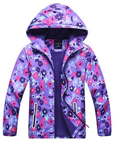 Girl's Rain Jackets Fleece Lined Floral Windbreaker Outdoor Hooded Outerwear, Purple, Purple, US 10-12 Years =Tag 2XL