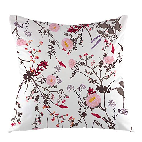 oFloral Trendy Floral Throw Pillow Cover Tropical Botanical Flowers Square Cushion Case Home Decorative for Sofa Couch Car Bedroom Living Room 18' x 18' inch Grey Pink White