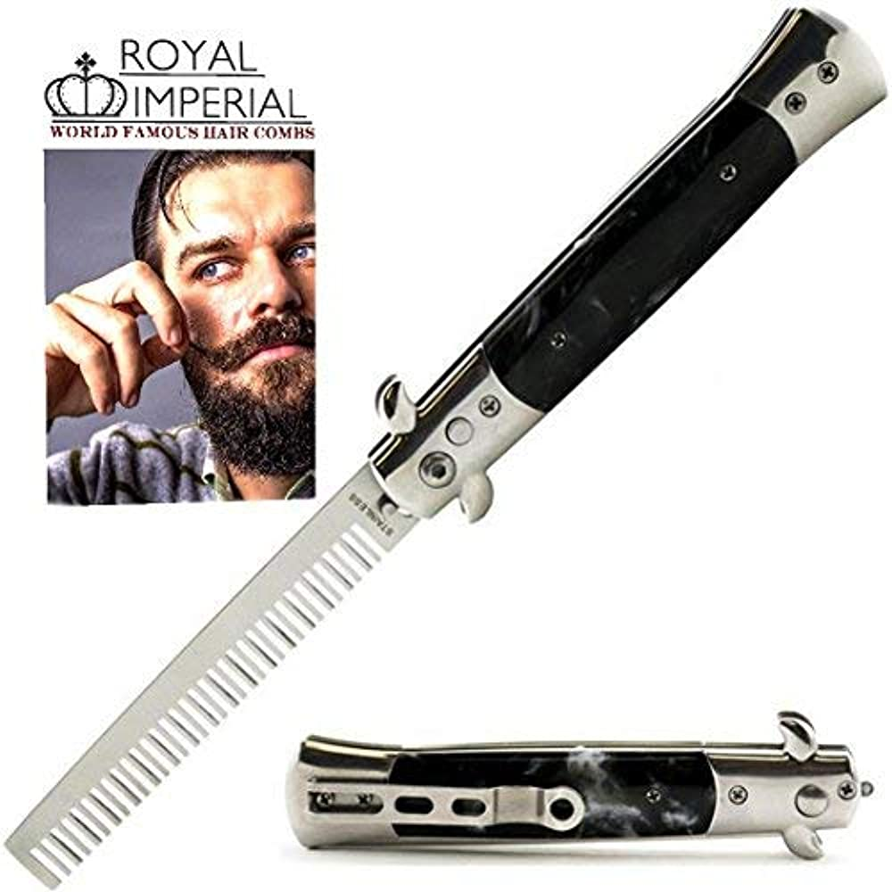 したい期限うなずくRoyal Imperial Metal Switchblade Pocket Folding Flick Hair Comb For Beard, Mustache, Head Black Pearl Handle ~ INCLUDES Beard Fact Wallet Book ~ Nicer Than Butterfly Knife Trainer [並行輸入品]