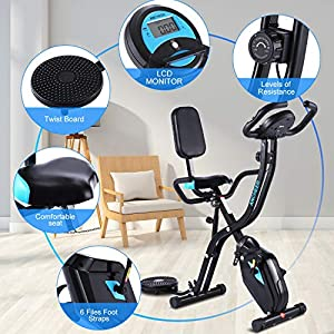 ANCHEER Folding Indoor Exercise Bike, Stationary Cycle Bike, Compact Magnetic Upright with App Program&Twister Plate& Heart Monitor - Perfect Home Exercise Machine for Cardio