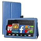 MAMA MOUTH Fire 7 5th Generation Funda, Slim PU Cuero con Soporte Funda Caso Case para 7' Amazon Fire 7 Android Tablet 5th Generation 2015 Release,Azul Oscuro
