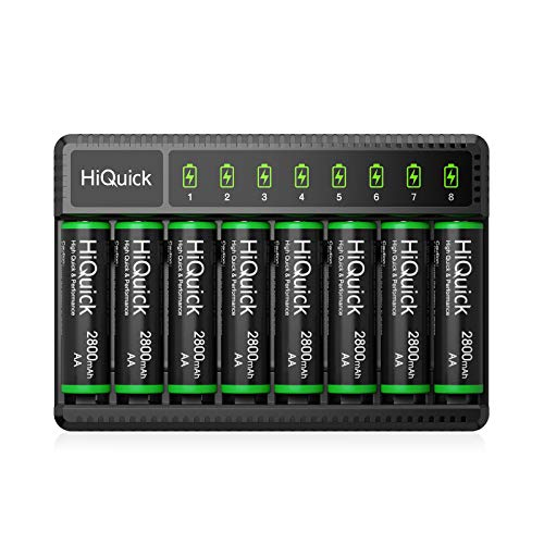 HiQuick 2800mAh Pre-Charged AA Rechargeable Batteries (8 Pack) and 8-Bay Fast Charging AA AAA Battery Charger for NIMH NiCd Rechargeable Batteries