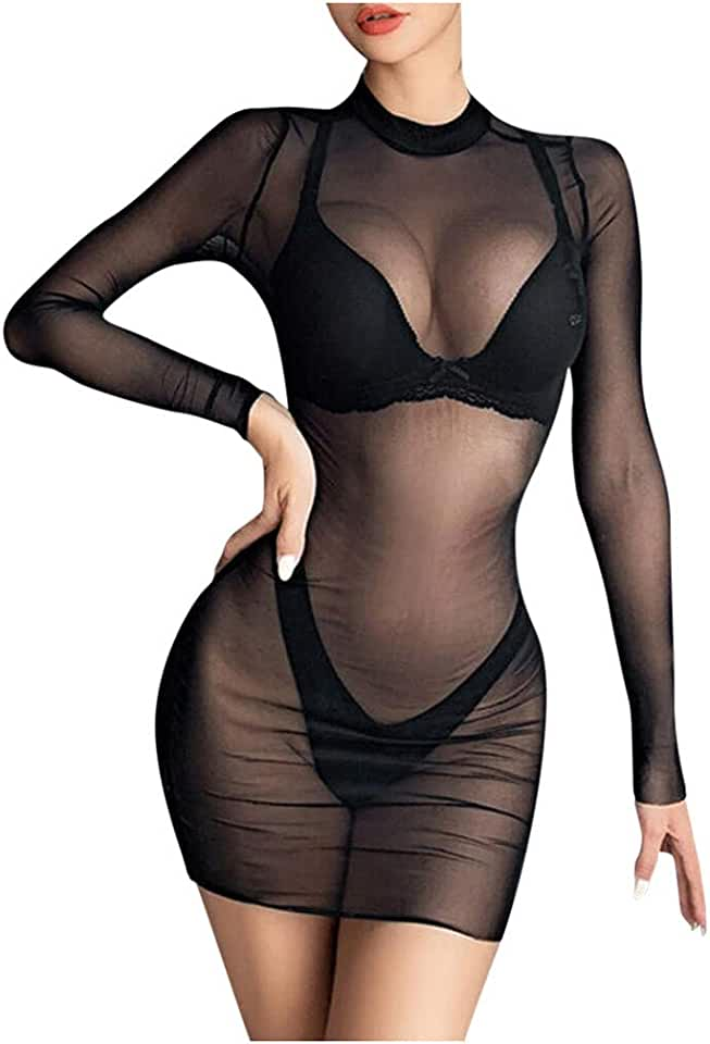 Women's Sheer Mesh See-Through Long Sleeve Crop Tops Casual Clubwear Mini Dress - Casual Fitted T Shirt Tee