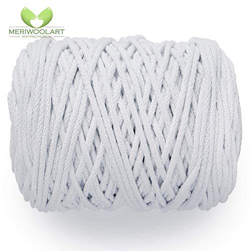 MeriWoolArt Makramee Makramee Garn 6mm, 100m, 50m Baumwolle Seil, Kordel für Tepisch, Quasten, Kisen, Ablagekörbe und Baumwolle Stricken (Weiß, 100 Meter)