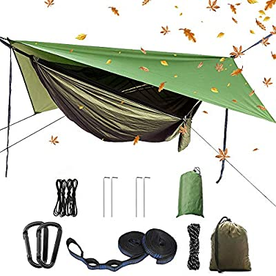 YCD Portable Camping Hammock Set,Single Double Hammock,Mosquito net,Insect net,rain Shade Tent,high Strength Parachute Fabric Hanging Bed. Suitable for Outdoor,Hiking,Camping, Travel