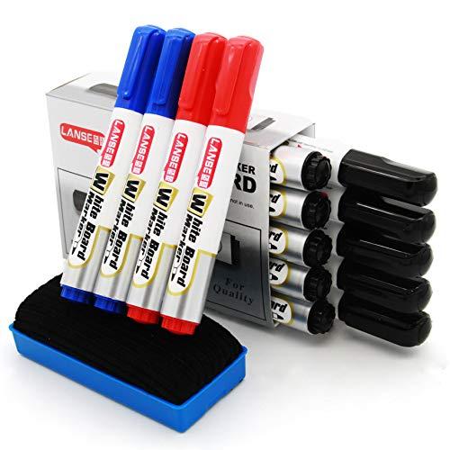ホワイトボード マーカー 、水性 インク速乾マーカーペン 、中字 丸芯 、14本入 3色 、防水、無毒、低臭気、消しやすい、線幅2mm 附赠 黒板消し