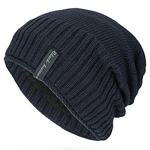 Kuyou Beanie Mütze Wintermütze in Grobstrick mit weichem Fleece Futter Mütze (Navy)