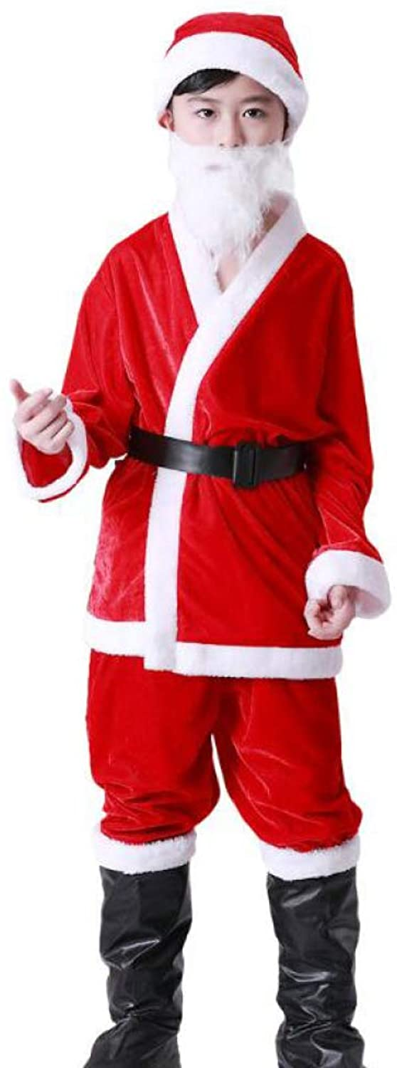 QIAOY Festive Santa Clause Costume Perfect Xmas Fancy Dress Party Outfit Beard Hat Trousers And Jacket Set,RedQALAge1012years