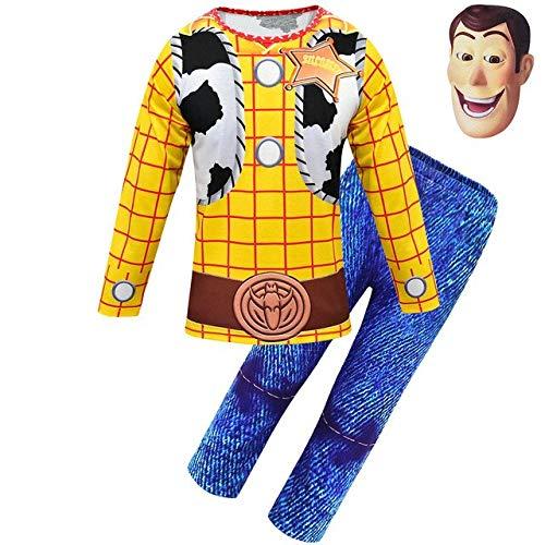 EQWR 2019 Halloween Toy Story Nios Disfraz de Woody Nio Woody Juego de roles Disfraz de vaquero Disfraces Cosplay Paos con sombrero M 1676 y mscara