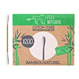 Caja de 200 bastoncillos blancos de bambú Feel Natural