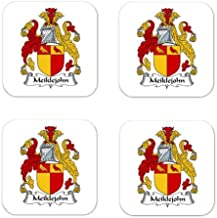 Meiklejohn Family Crest Square Coasters Coat of Arms Coasters - Set of 4
