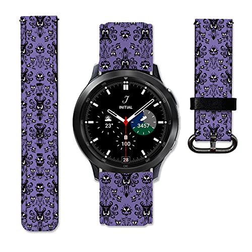 Haunted Halloween Leather Strap compatible with Samsung Galaxy Watch4 Active 2 40mm 44mm Galaxy Watch4 Classic Active 2 42mm 46mm Galaxy Watch 3 Active 2 40mm 41mm 42mm 45mm 46mm Gear S3 S2 and other watches 20 and 22mm wristband straps leather bands Mansion 06 (22 mm)