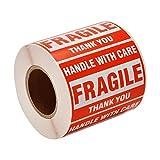 Etiquetas Fragil, 500 Etiquetas Adhesiva 2''x3' Llamativo Pegatinas de Advertencia Inicio Mudanza Etiquetas Paquete de Envío'Handle with Care, Fragile, Thank You'