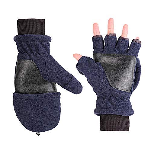 Magarrow Winter Männer Frauen Handschuh warme halb Finger mitten (Tibetische blau)