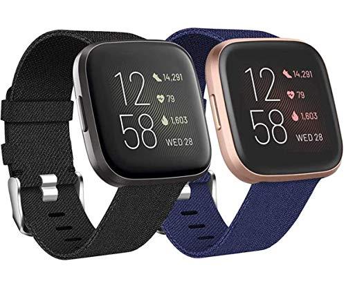 Wepro 2 Pack Bracelet Compatibleavec Fitbit Versa/Fitbit Versa 2 pour Femmes, Bracelet de Rechange en Tissé Respirant pour Fitbit Versa SmartWatch, L Noir/Bleu