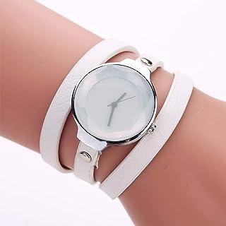 Stylish watch Women's Watch Quartz Wrist Watch with Round Dial Bracelet Watch with Long Leather Strap for Girl Female,White Watch