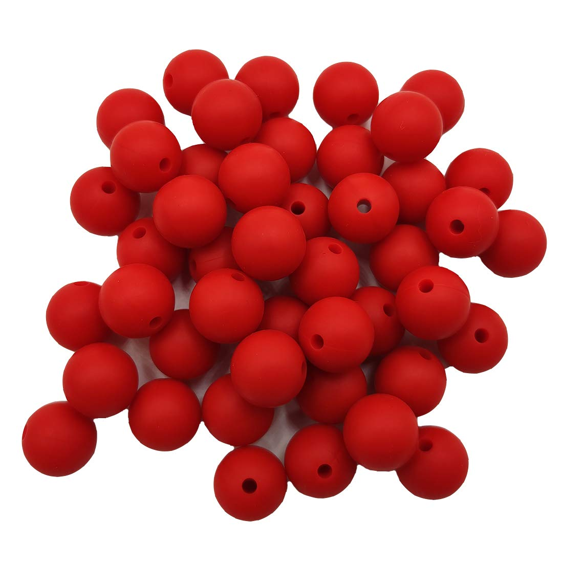 100pcs Scarlet Red Color Silicone Round Beads Sensory 15mm Silicone Pearl Bead Bulk Mom Necklace DIY Jewelry Making Decoration