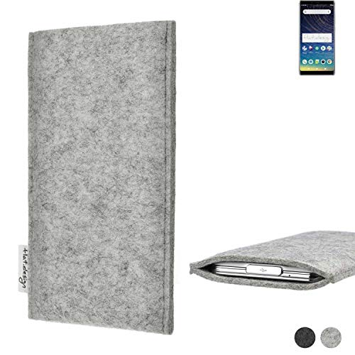 flat.design Handy Hülle Porto für Coolpad Legacy maßgefertigte Handytasche Filz Tasche Schutz Hülle fair grau