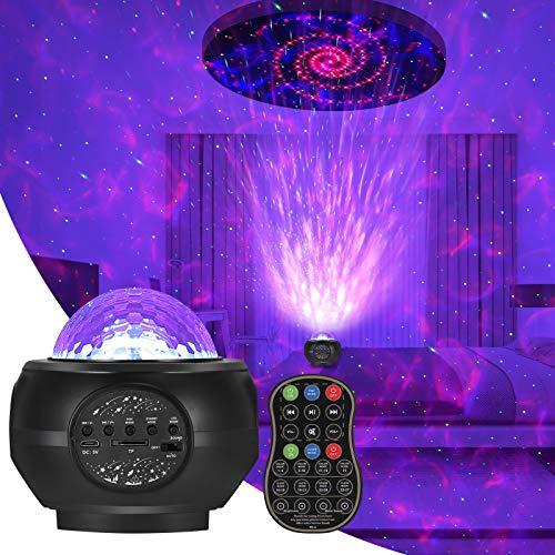 Lámpara de Proyector Star, Lampara Estrella de luz Nocturna con Control Remoto Audio Bluetooth 32 Modos Para Proyector Lámpara para Interiores y Exteriores Decoración de Paredes,Fiesta,Festival