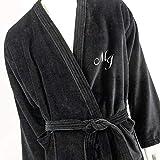 Albornoz para hombre personalizados, kimono con monograma, de color negro, tamaños M, L, XL, XXL, 100% algodón, negro, Medium
