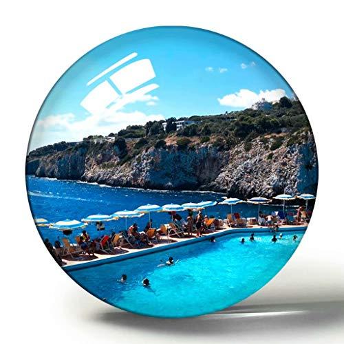 Hqiyaols Souvenir Italia Castro 3D Imán de Nevera Colección de Recuerdos Viaje Regalo Círculo Cristal Imanes de Nevera