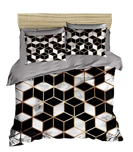 3D Kubisch Bettbezug Set   Double Duvet Cover Set  % 100 Baumwolle   200x220 Double   4er Set Bettwäscheset mit Bettbezug, Laken und Kissenbezug   4 in 1 with Duvet Cover, Sheet and Pillow Covers