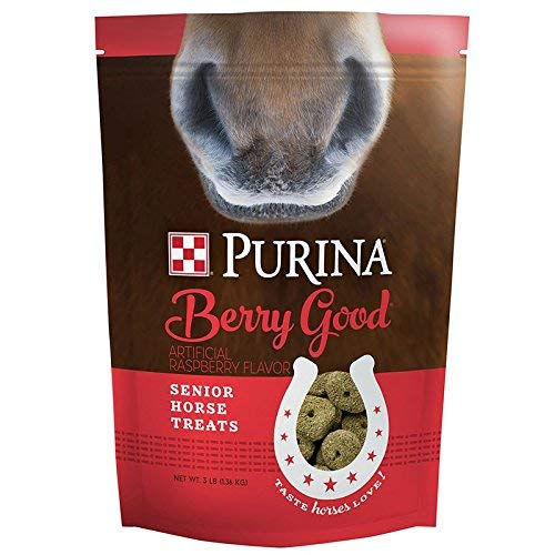 Purina | Berry Good - Raspberry Flavored Senior Horse Treats | Added Biotin for Hoof Health -3 Pound (3 lb) Bag