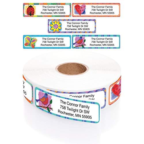 Imagination Assorted Designer Rolled Address Labels with Elegant Plastic Dispenser