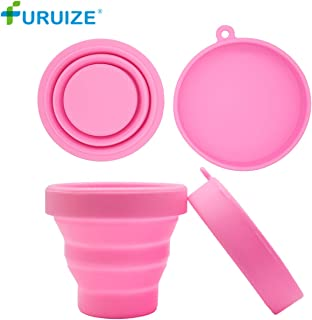 Furuize Menstrual Sterilizing Cup Collapsible Silicone Cup Flexible to Clean Menstrual Cup Recyclable Camping Foldable Sterilizer Cup