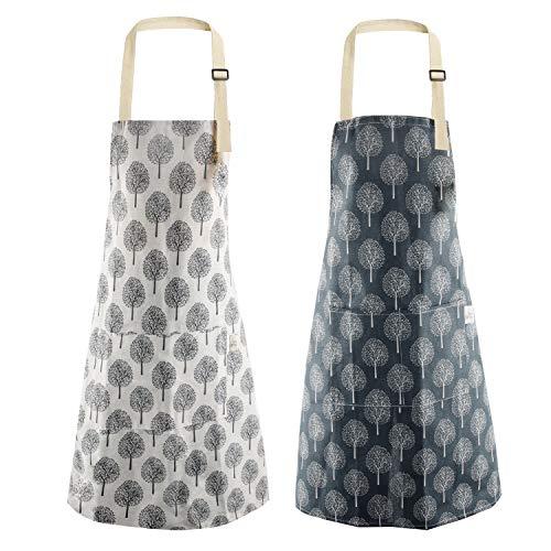 EKKONG 2 Stücke Baumwolle Leinen Kochschürze, mit Tasche Verstellbare Kochschürze Damen und Männer zum Kochen oder Backen, Schürze für Küche Kochen Backen Haushaltsreinigung 70x75cm